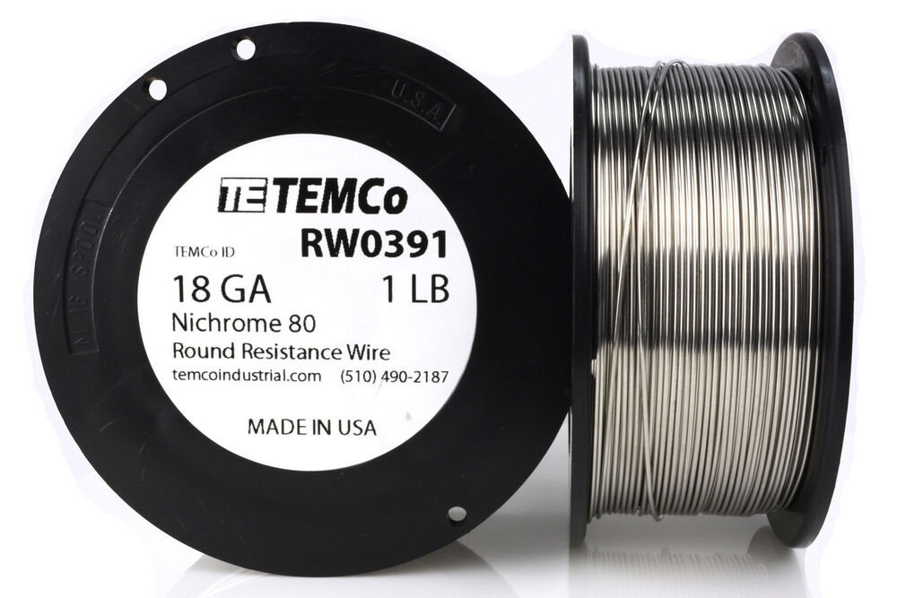 TEMCo Nichrome 80 series wire 18 Gauge 1 lb (215ft) Resistance AWG ...
