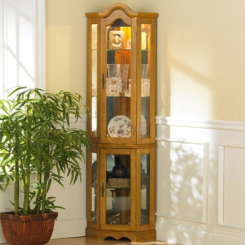 Mirrored Glass Kitchen Cabinets: Oak Mirrored Lighted Corner Curio Display Glass Cabinet