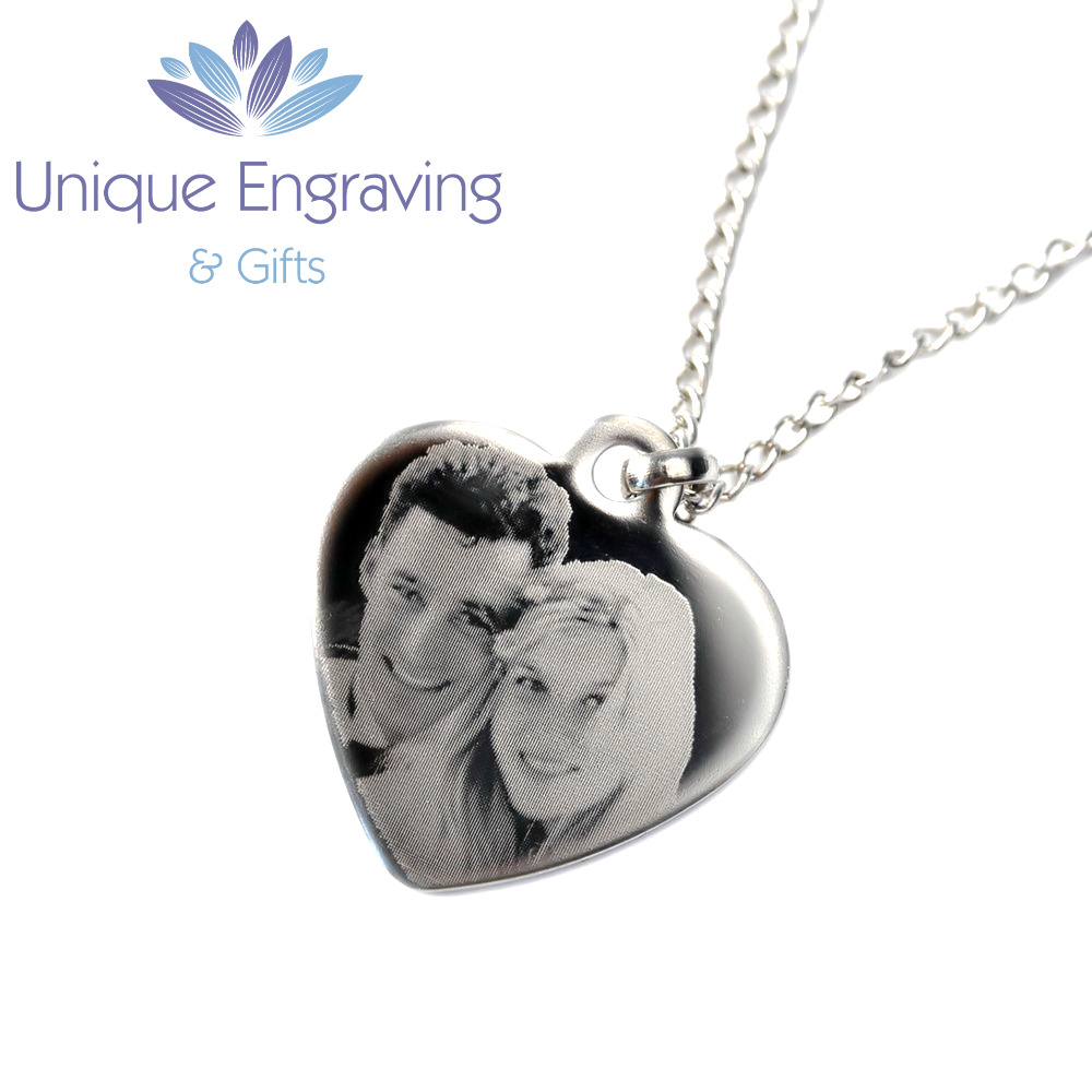 personalised photo text engraved heart necklace pendant. Black Bedroom Furniture Sets. Home Design Ideas