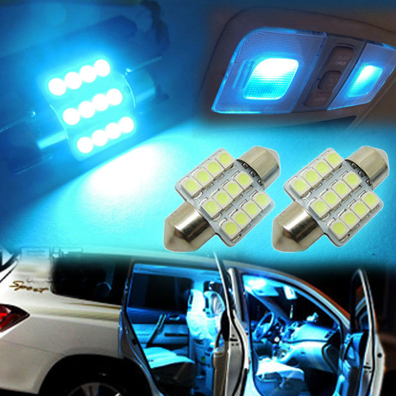 2x aqua blue 31mm 12 smd de3175 de3022 led bulbs for car interior light ebay. Black Bedroom Furniture Sets. Home Design Ideas