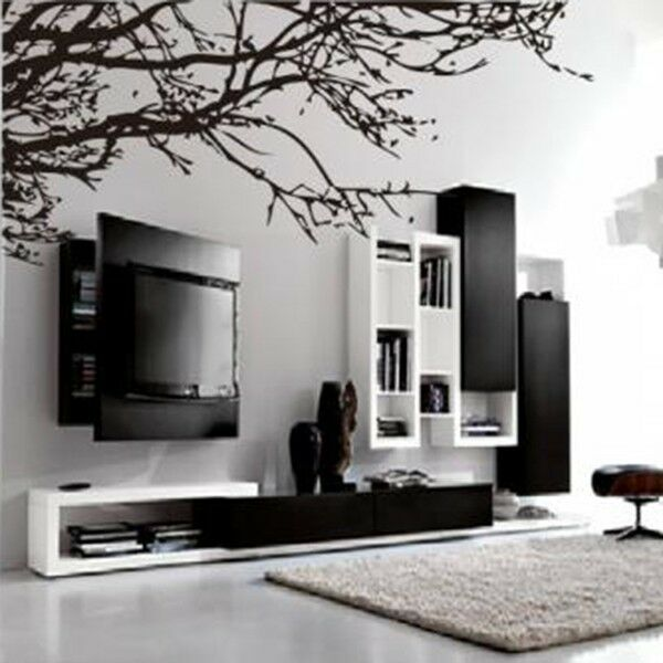 Black tree branch wall sticker vinyl art home decals room for Black tree wall mural