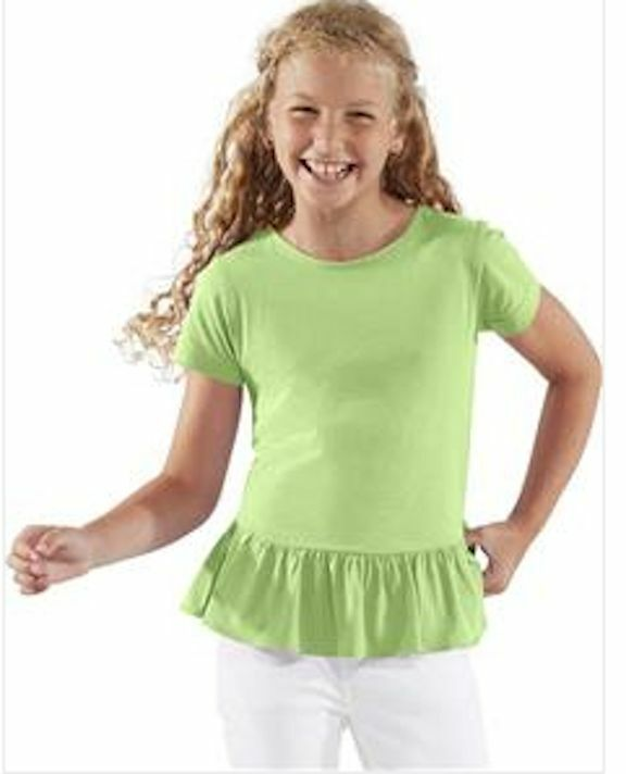 Blank wide ruffle hem girls t shirt tunic 100 cotton for Blank polo shirts for embroidery