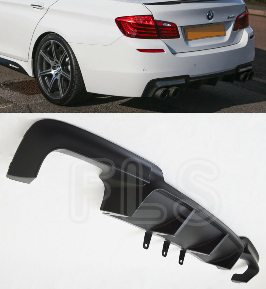 bmw 5 series f10 f11 quad exhaust rear diffuser m sport bumper splitter valance ebay. Black Bedroom Furniture Sets. Home Design Ideas