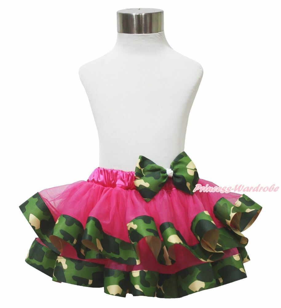 Hot Pink Green Camouflage Camo Satin Trimmed Tutu Baby