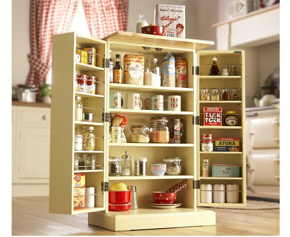 Freestanding larder wooden cupboard buttermilk kitchen for Kitchen cabinets ebay