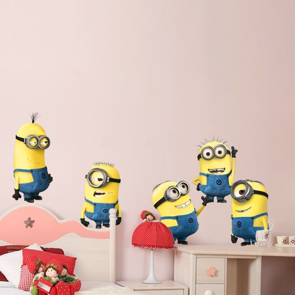 5 minions wandtattoo wandsticker wanddeko wandaufkleber kinderzimmer baby deko ebay. Black Bedroom Furniture Sets. Home Design Ideas