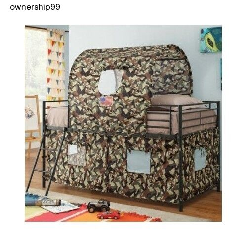Boys twin loft bed camouflage army fort tent bunk beds for Camouflage bedroom ideas for kids