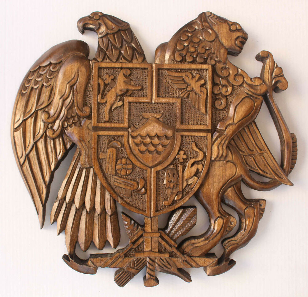 coat of arms armenian handmade handcrafted walnut wood