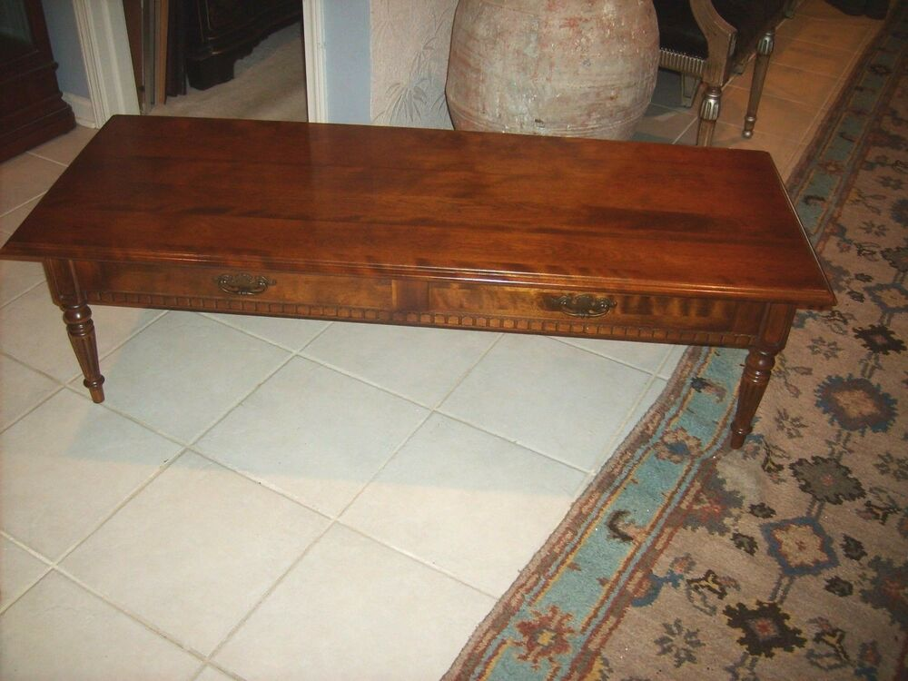 Ethan Allen 39 Classic Manor 39 Two Drawer Coffee Table Ebay