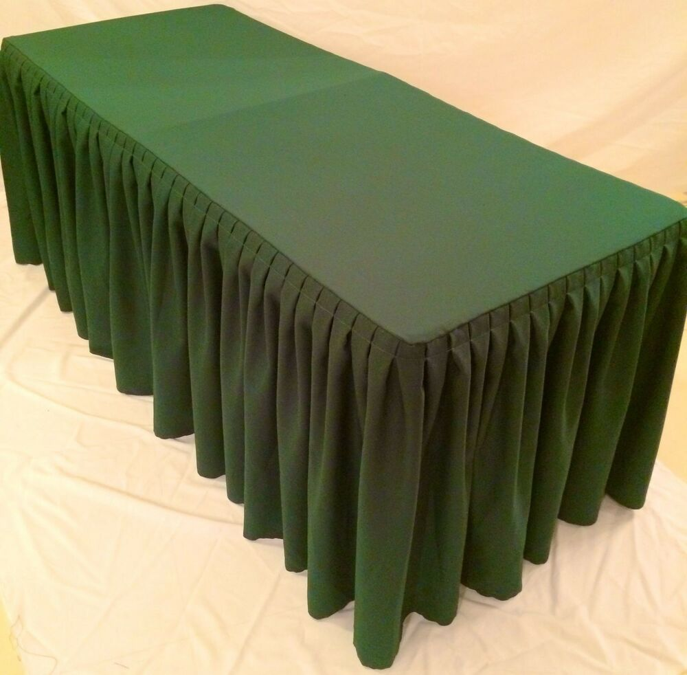 8 39 fitted polyester double pleated table skirting cover w for Table skirting