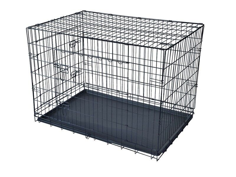 Foldable Metal Wire Dog Cage 2 Door Dog Crate Kennel