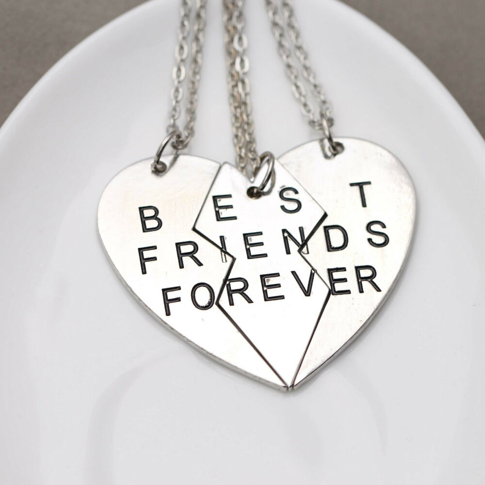 best friend jewelry for 3 broken 3 parts best friends forever friendship necklace set 3 pieces c1 ebay 8167