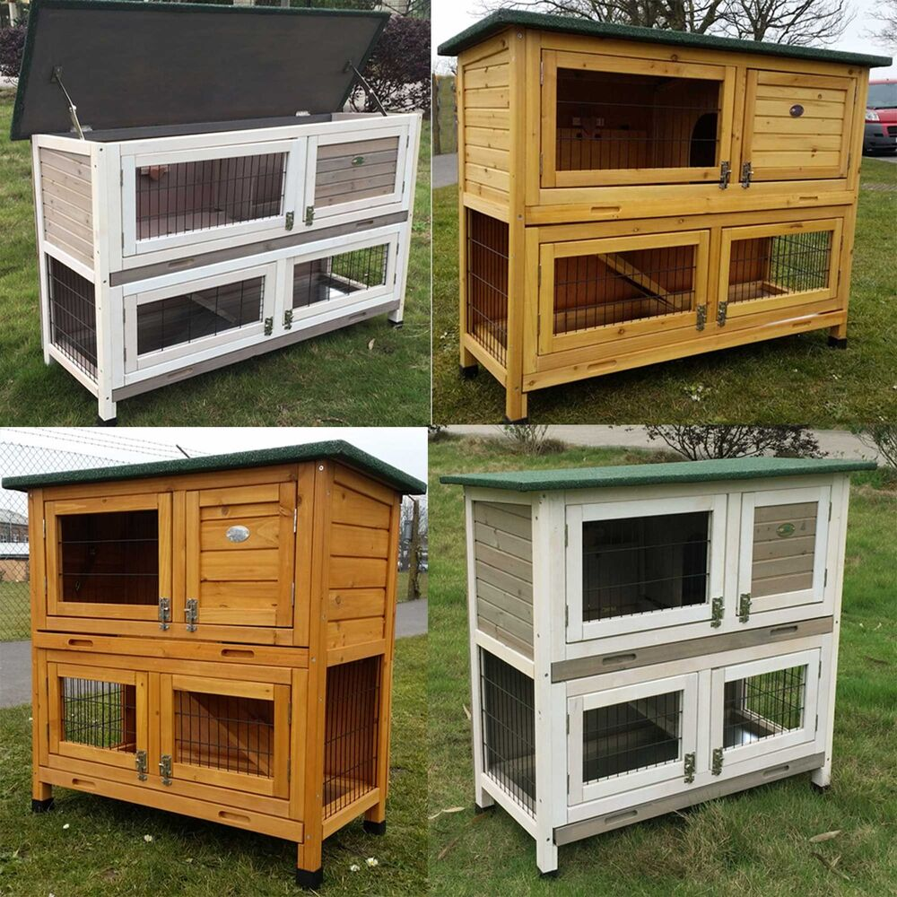 Large rabbit hutch guinea pig hutches run large 2 tier for How to build a guinea pig hutch