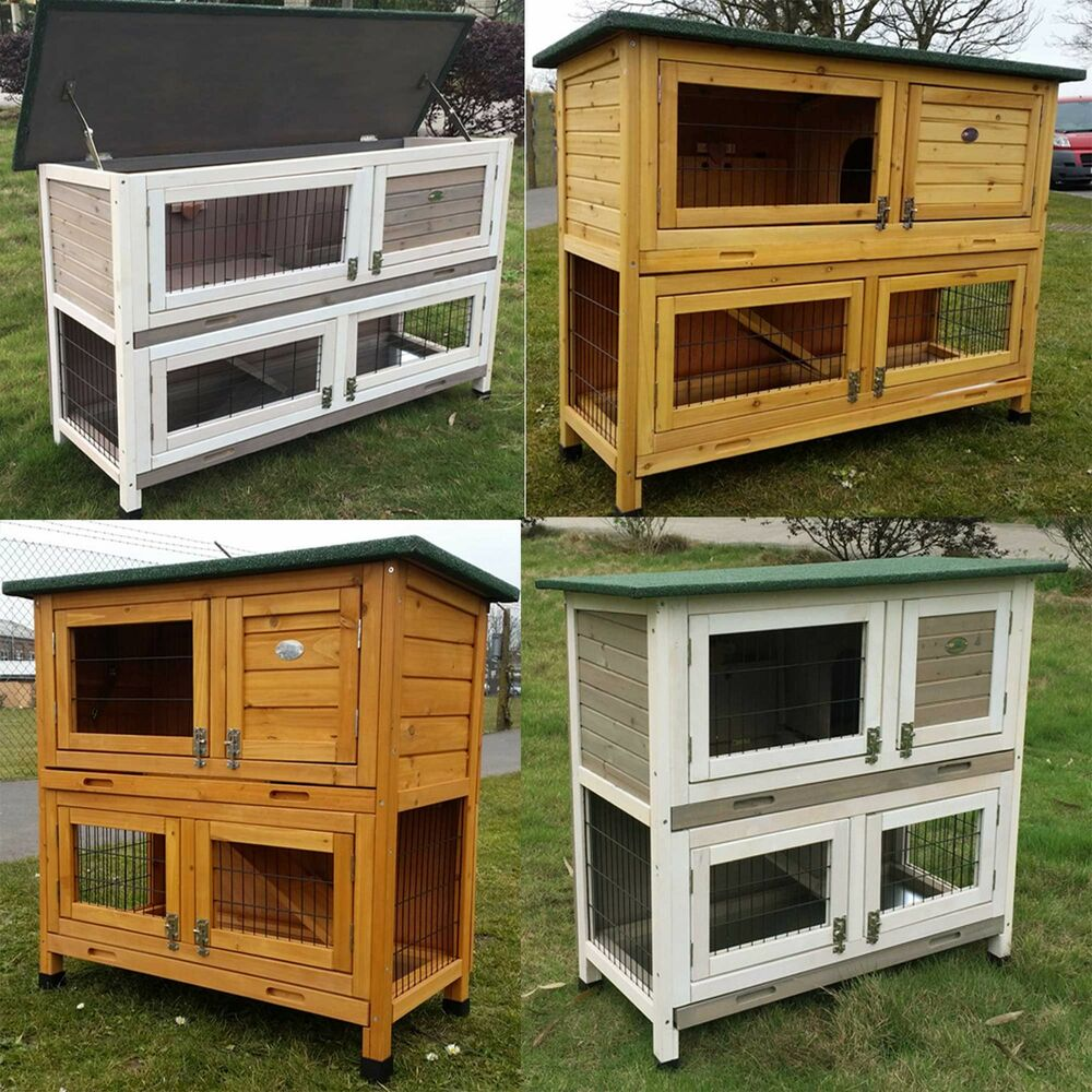 Large rabbit hutch guinea pig hutches run large 2 tier for 2 rabbit hutch