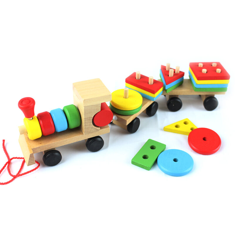 Baby Blocks Toys : Colorful baby wooden stacking toy pull train wood building