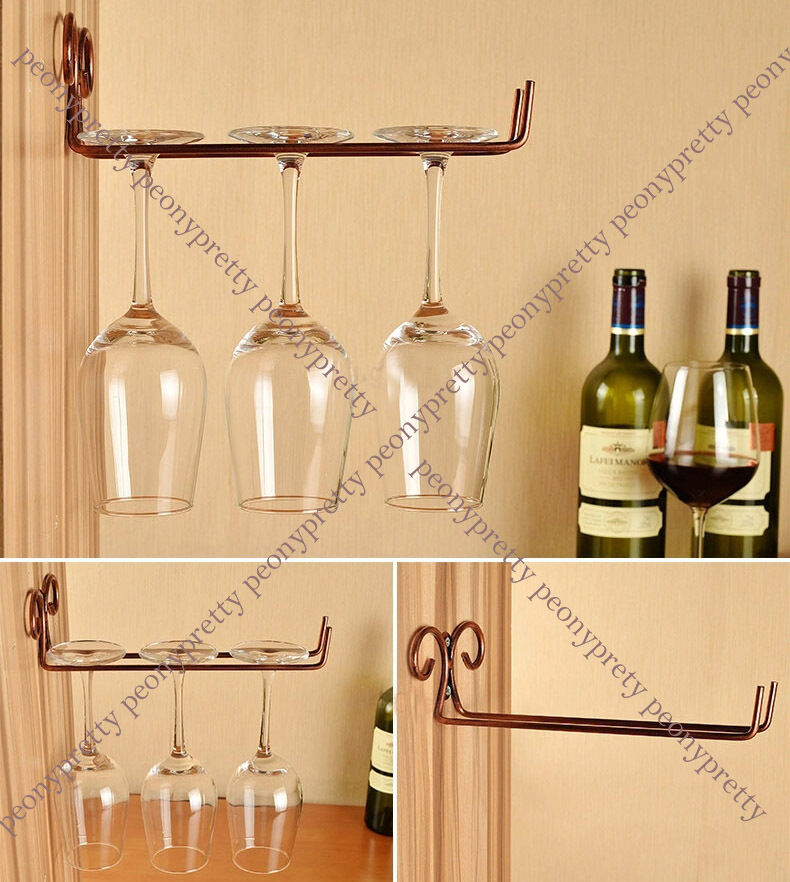 Wall Wine Glass Stemware Hanging Rack Holder W Screw Bar