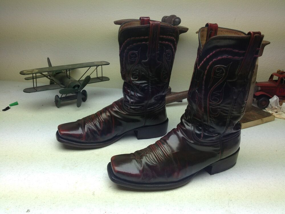 Old Vintage Made In Usa Burgundy Lucchese Square Toe
