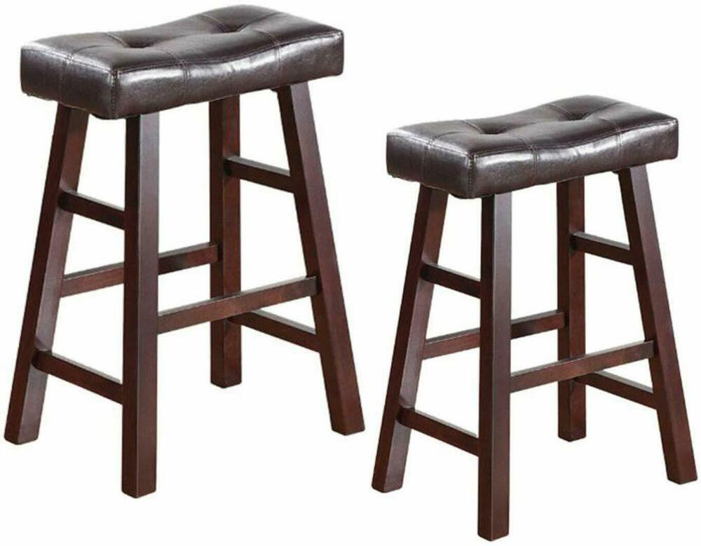 Set Of 2 Dark Espresso Wood Barstools With Espresso Bonded
