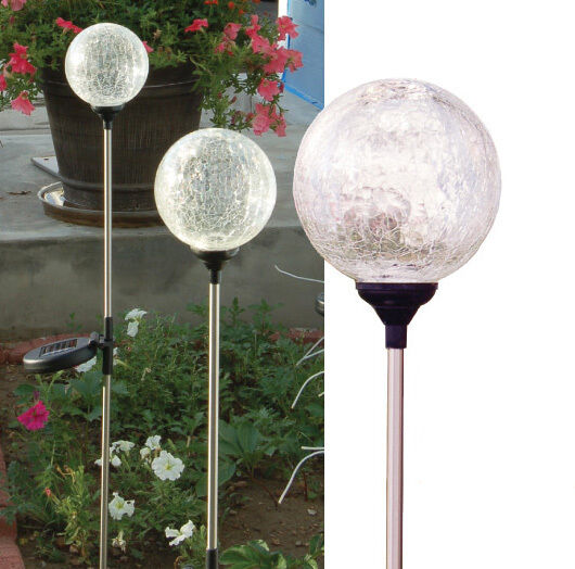 Set Of 3 Crackle Clear Glass 3 5 Quot Ball Solar Color Change