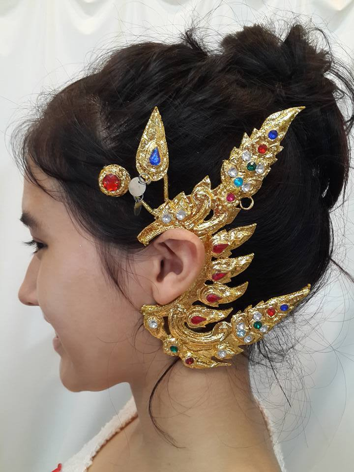 Traditional Thai Style Dance Costume gold EARRINGS crown ...