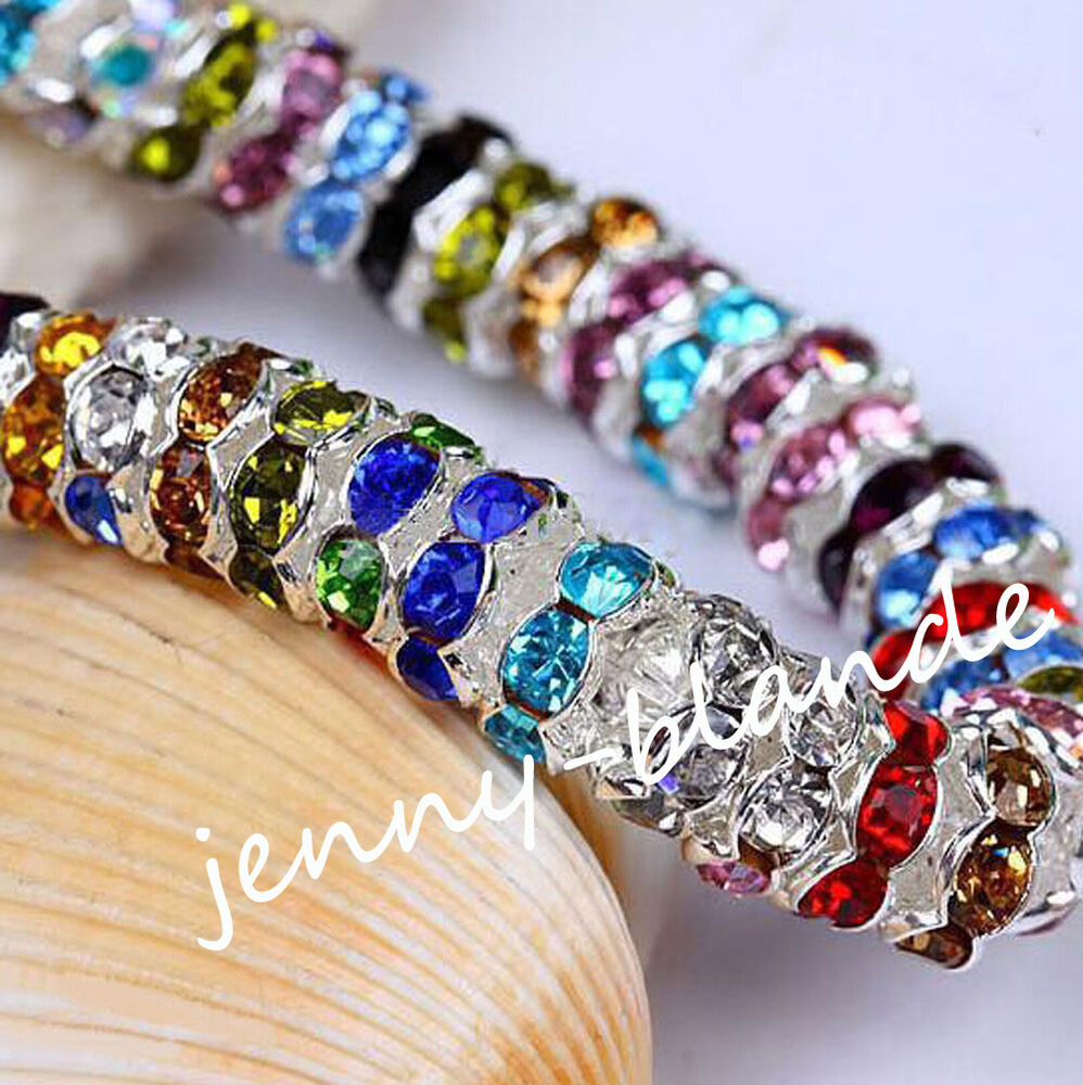 Crystal Bead Beads: 50/100Pcs Silver Plated Czech Crystal Spacer Rondelle