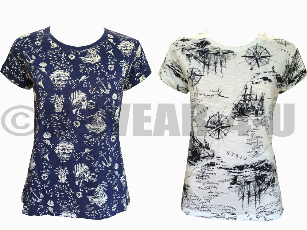 LADIES WOMENS MARKS & SPENCER SAILOR T SHIRT HIGH TIDE ...