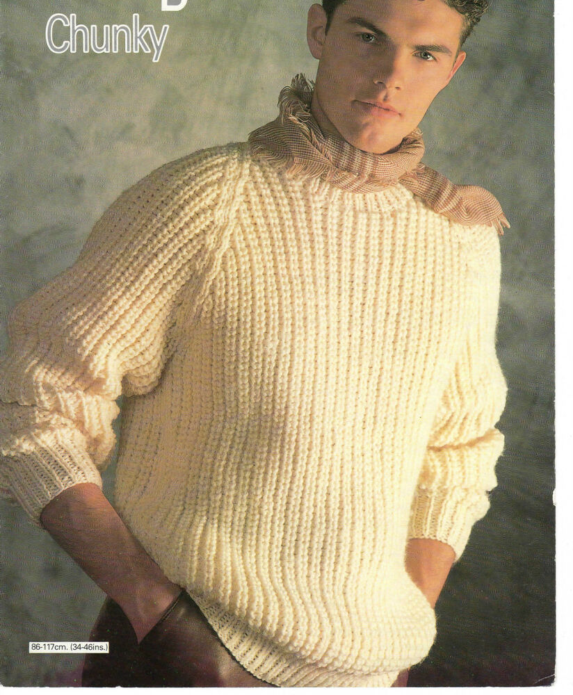 Chunky Knit Jumper Pattern : mens fishermans rib sweater chunky knitting pattern 99p eBay