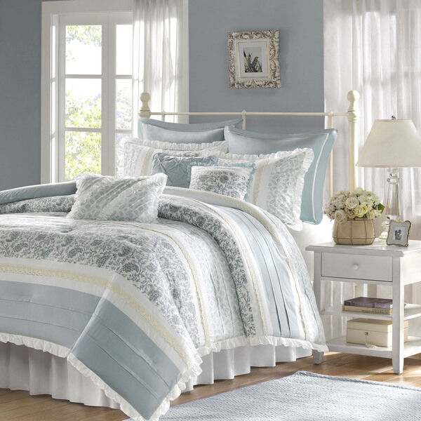 Blue White Bed Bag Luxury 9pc Comforter Set Cal King Queen