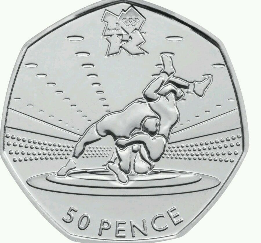 LONDON SUMMER OLYMPIC 2012 29/29 WRESTLING 50P COIN 2011