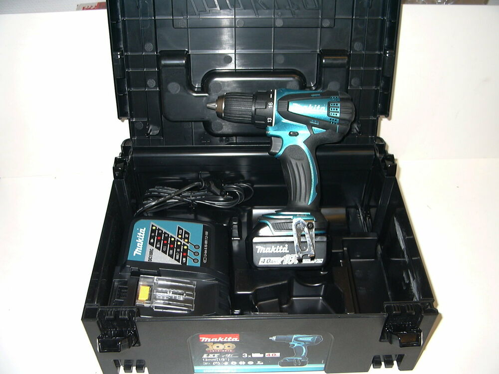 makita ddf456 sp1j 2 x 18v 4ah akku makita blau mit black makpac neu ebay. Black Bedroom Furniture Sets. Home Design Ideas