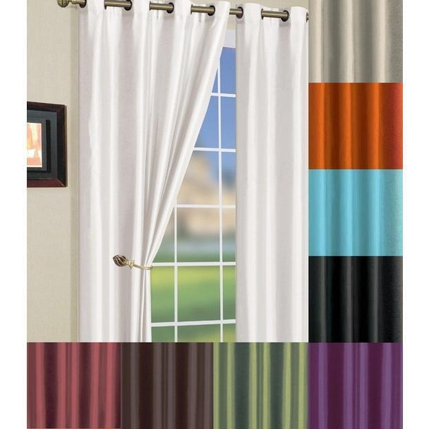 Solid Faux Silk Grommet Short Window Curtain Panel 58 By