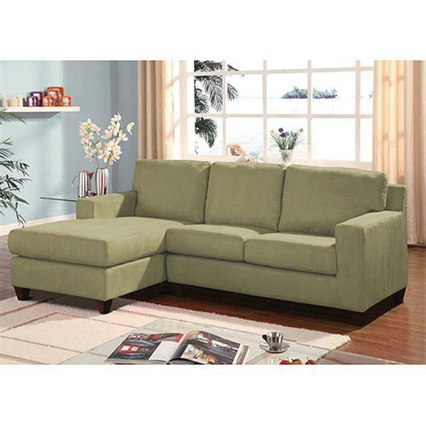 Microfiber reversible chaise sectional sofa couch bed for Apartment couch with chaise