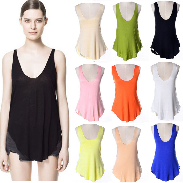 New summer women low v neck vest loose t shirt sleeveless for Low neck t shirts women s