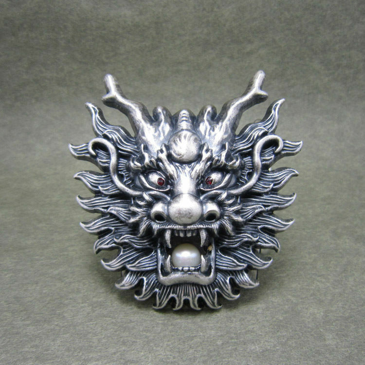 silver plated asian chinese dragon head metal belt buckle ebay