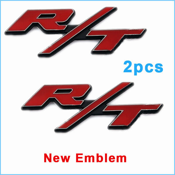 New 2pcs RT R/T Emblem Badge for Dodge Charger Ram 1500 Challenger Decal Red | eBay