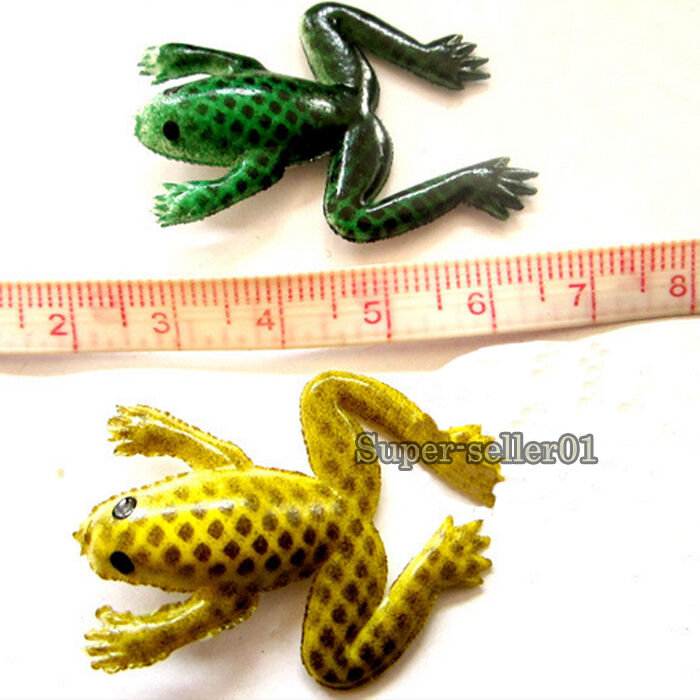 Cute bait rubber emulational frog soft fishing lures bass for Rubber fishing lures