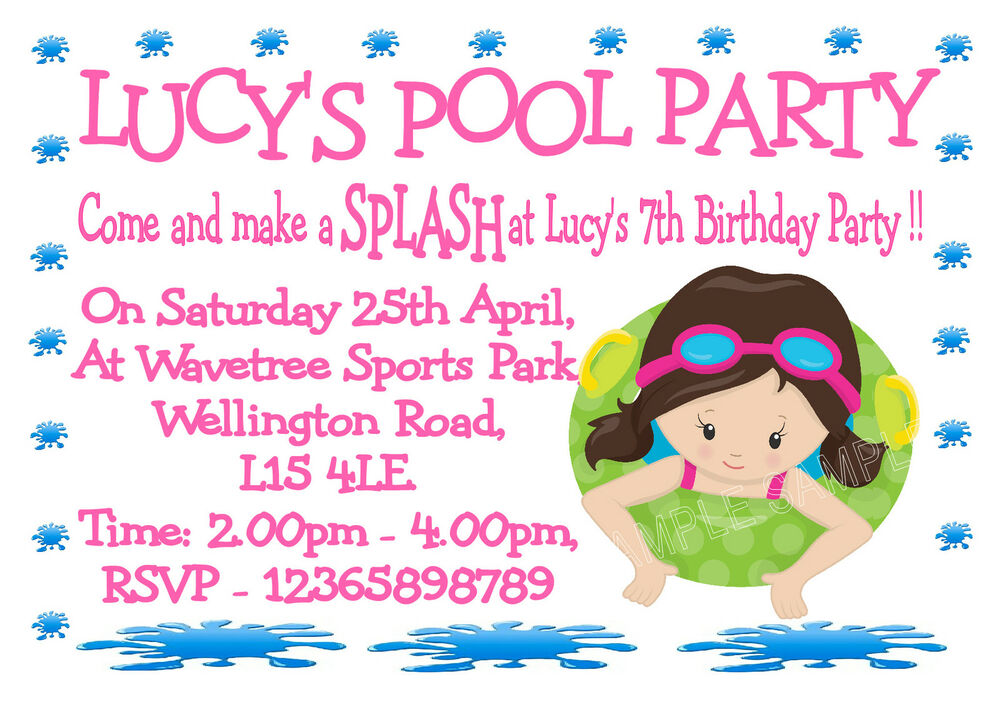 10 Personalised Girls Swimming Party - Pool Party Invitations | eBay