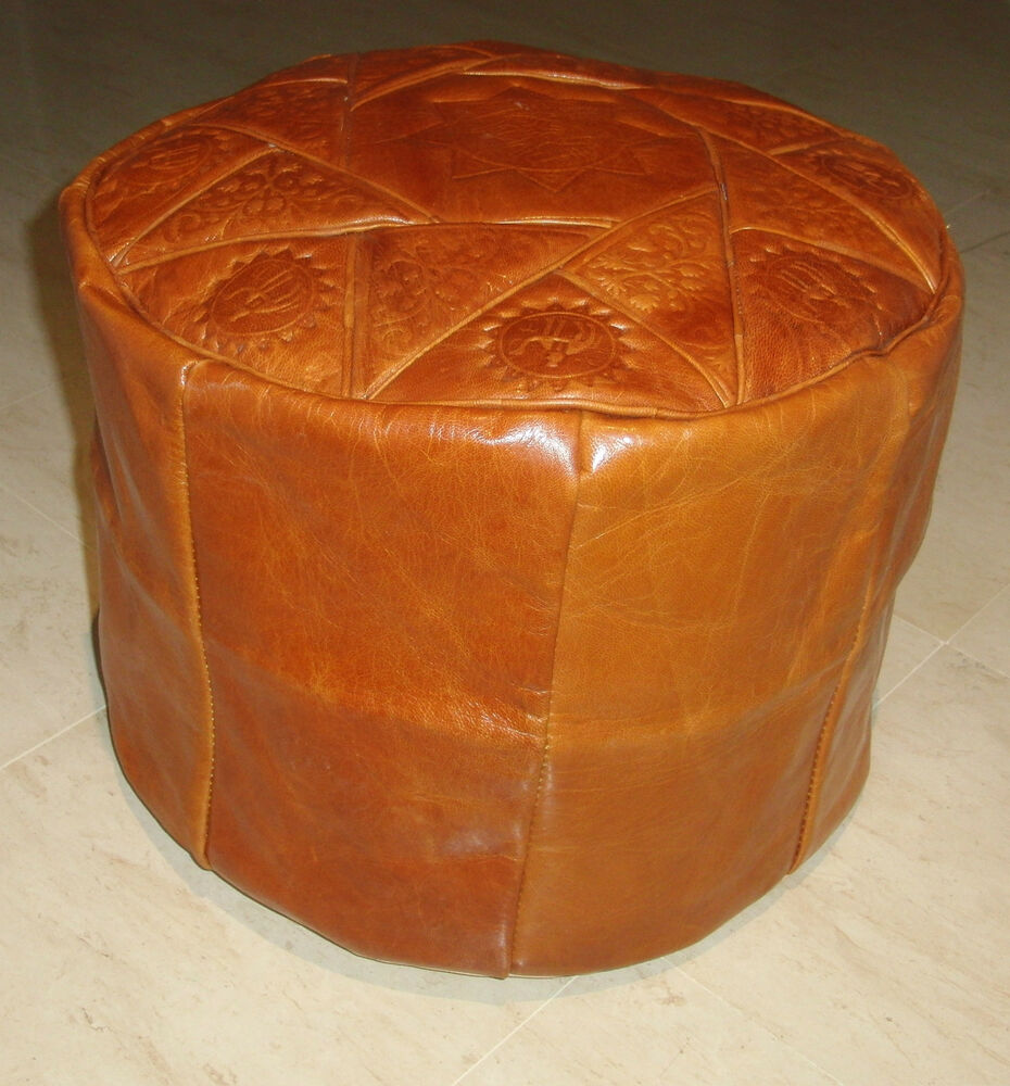 camel brown genuine leather moroccan pouf pouffe handmade ottoman footstool ebay. Black Bedroom Furniture Sets. Home Design Ideas