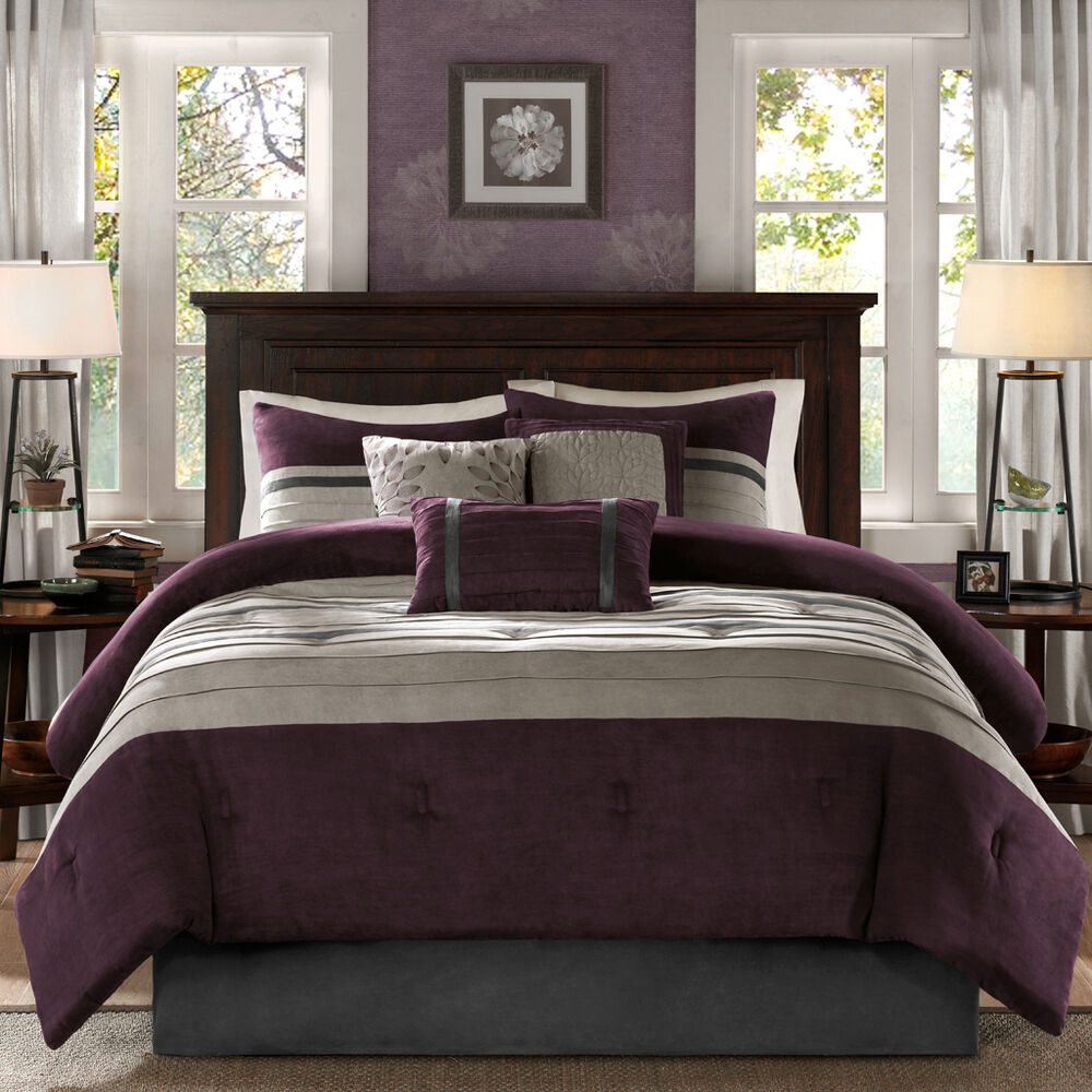 purple grey blue bedroom beautiful soft modern chic textured purple plum grey 16874