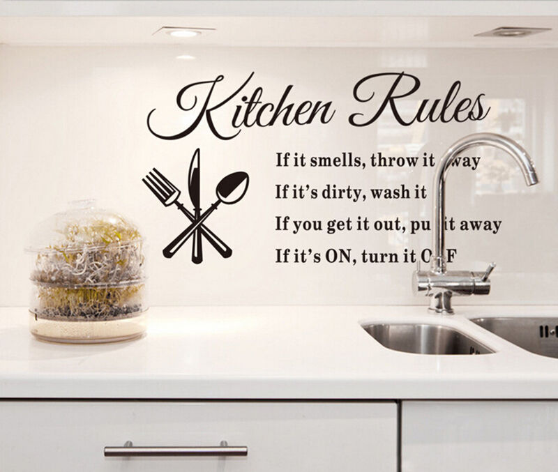 New diy removable kitchen words wall stickers decal home decor vinyl art mural ebay - Diy kitchen wall decor ...