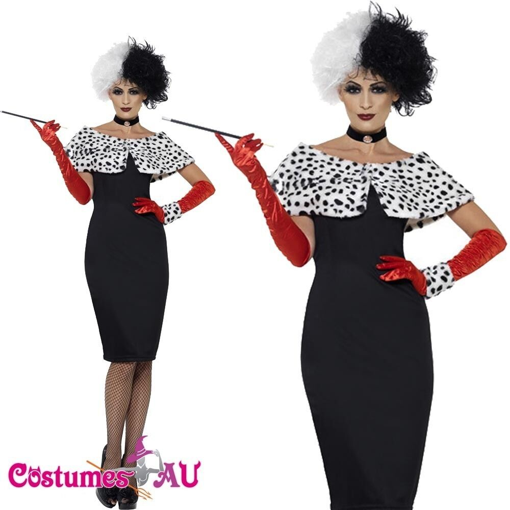 ladies licensed evil madame costume cruella de vil 101 dalmations fancy dress ebay. Black Bedroom Furniture Sets. Home Design Ideas