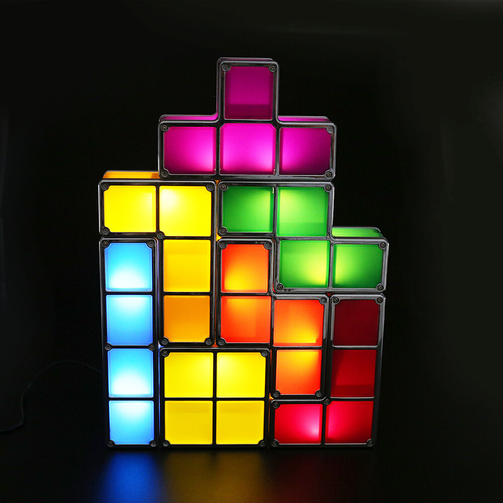 newest tetris led light desk bed lamp diy retro game style stackable. Black Bedroom Furniture Sets. Home Design Ideas
