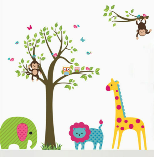wandtattoo kinderzimmer tiere zoo wald wandsticker baum eule affe gro xxl t2 ebay. Black Bedroom Furniture Sets. Home Design Ideas