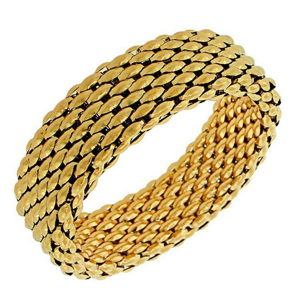 Stainless Steel Yellow Gold-Tone Mesh Wide Stretch Womens ...