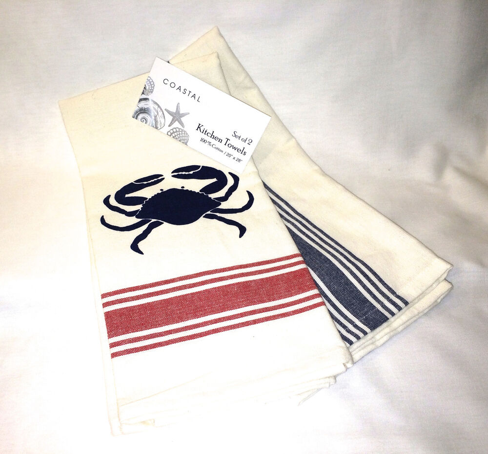 White Dish Towels With Red Stripe   COASTAL COLLECTION RED WHITE BLUE CRAB  U0026 STRIPE KITCHEN