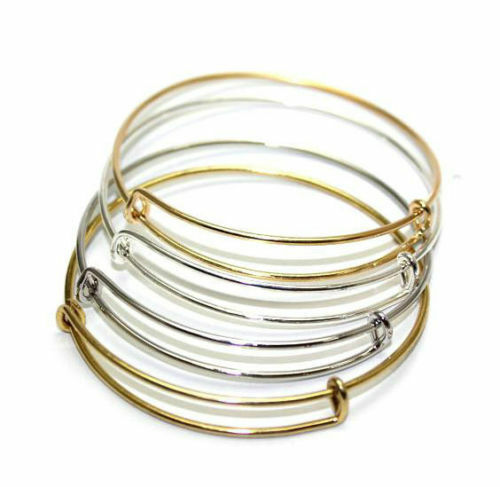 Wire Bracelets With Charms: Wholesale Expandable Wire Bangle Bracelet Adjustable Gold