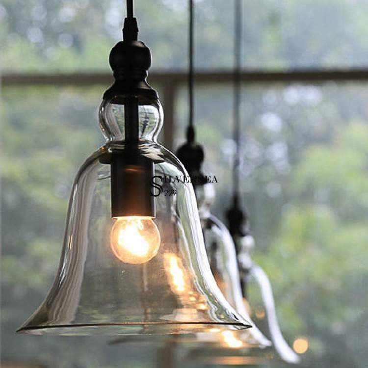 Old Industrial Pendant Light: Vintage Antique Ceiling Fixture Glass Chandeliers Lamp