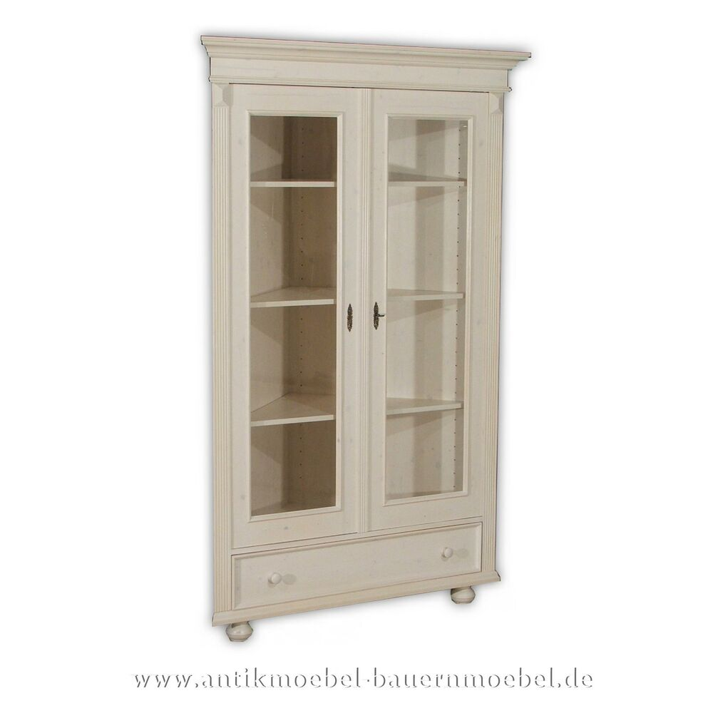 eckvitrine eckschrank vitrinenschrank holz massiv landhausstil gr nderze wei ebay. Black Bedroom Furniture Sets. Home Design Ideas