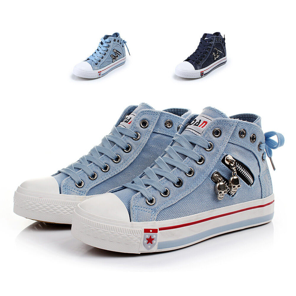 Women Fashion Sneakers Skull Zipper Decoration Lace Up ...