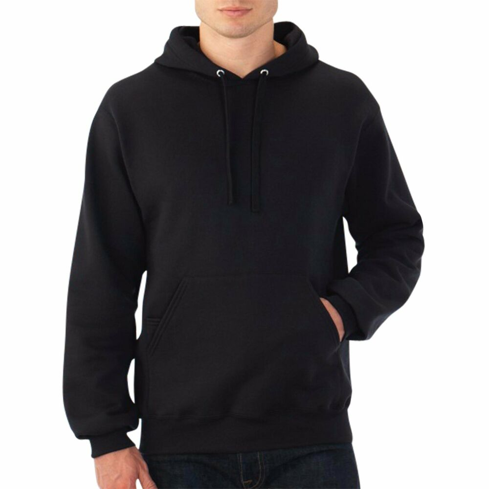 Hooded Plain Black Sweatshirt Men Women Pullover Hoodie Fleece ...